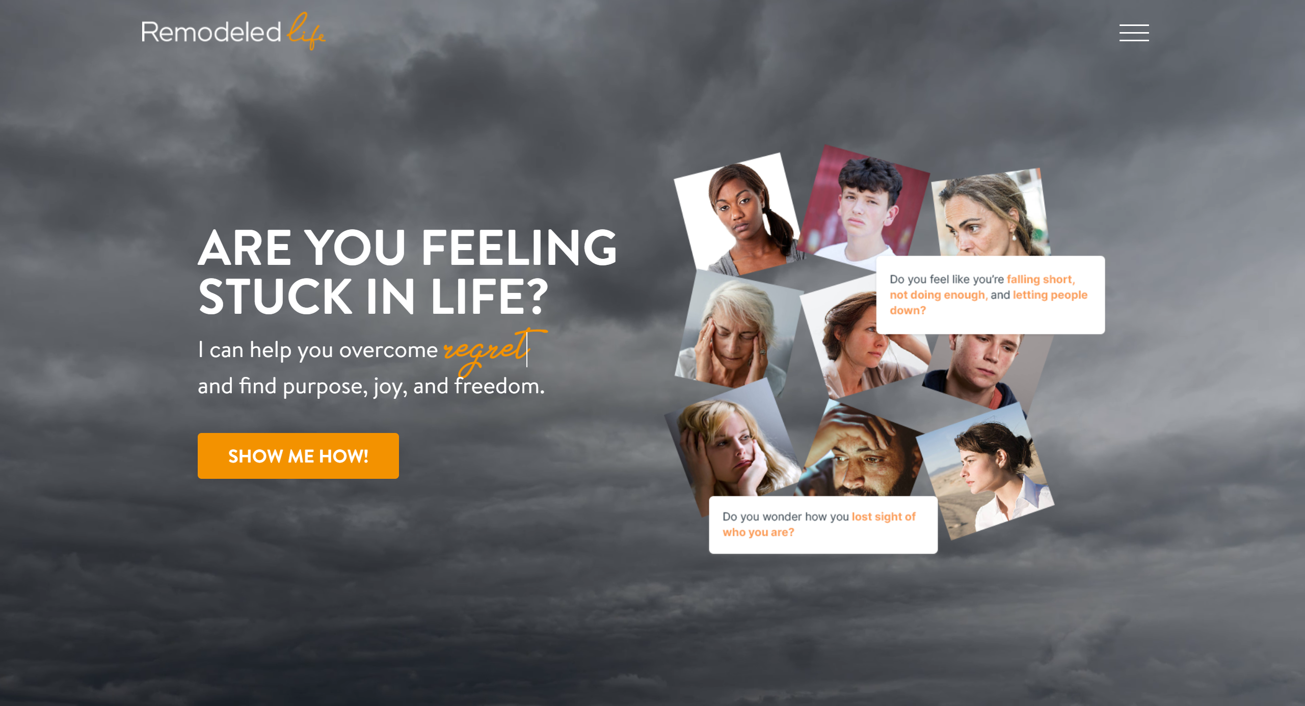 Dark, foreboding landing page. People hurting, dealing with regret